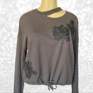 Forever21 Lace Floral Drawstring Waist Sweater NWT